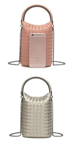 Women Weave Phone Handbags Mini Shoulder Bags Chain Bucket Crossbody O 8217 Neill
