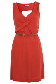 Miss Selfridge Red Cowl Neck Pintuck Dress. Love.
