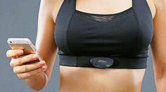 Sensilk smart-bra. biometric sensor uses silver fibres woven into fabric of the chest-strap.