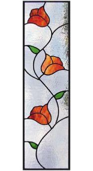 stained glass flower vine - cabinet insert