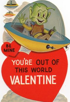 """Just recently started collecting old valentine cards. This one was purchased at Antiques Minnesota. I love the """"Little Green Man."""