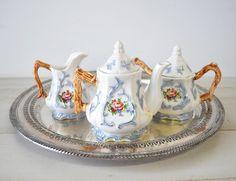 Victorian roses vintage tea set