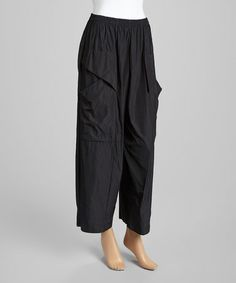 Black Pocket Wide-Leg Pants - Women by IC Collection #zulily #zulilyfinds