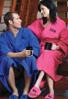 Mr. and Mrs. Robes and Optional Slippers $73.69; personalized robes for brides or grooms; gifts for him; gifts for her; wedding gifts #Christmas #robes #spa