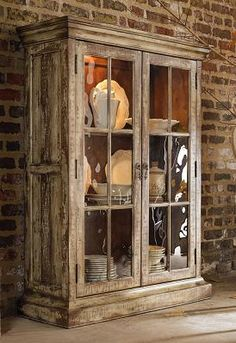 Rustic china cabinet, need this for my dinning room!
