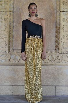Reserved Tenille //Satin and Sequin Rose Gold Floor Length Skirt ...