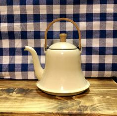 Vintage Cream Colored Enamelware Teapot / Tea Kettle with Wood Handle - Farmhouse Decor - Farm Kitchen - Country Cottage