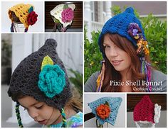 These Pixie Shell Bonnets are fun, fast and easy to make. Pattern comes in six sizes. Newborn thru Adult. NB size is available for free at www.cre8tioncrochet.com.