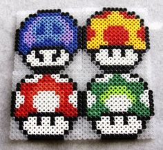 Perler Bead Mario Mushroom Coaster Set By Argentacollaborative Perler Bead Designs, Perler Bead Templates, Diy Perler Beads, Pearler Beads, Melty Bead Patterns, Pearler Bead Patterns, Perler Patterns, Beading Patterns, Pixel Art