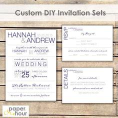 Navy Printable Wedding Invitation Set  DIY  Modern by PaperHour
