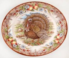 Entertain, gather, and turn your house into a home that's undeniably yours with the Turkey Brown,Multicolor Dinner Plate by Royal Stafford. Thanksgiving Plates, Thanksgiving Greetings, Vintage Thanksgiving, Thanksgiving Tablescapes, Thanksgiving Decorations, Brown Dinner Plates, Turkey Plates, Decoupage, Royal Stafford