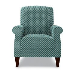Charlotte High Leg Recliner by La-Z-Boy- Turquoise --- small scale and doesn't look like a recliner! I love the velvet dot fabric in-person... so soft and fun texture