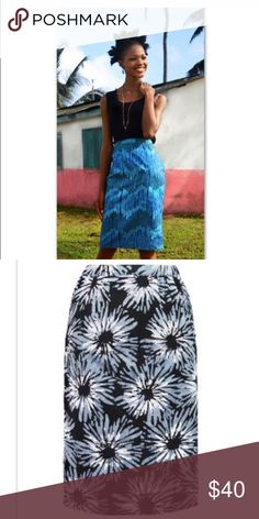 Cotton Batik Pencil Skirt Fair Trade NWT From a cooperative that empowers women in Ghana - gorgeous bold handmade and hand dyed fabric, you alone will have this skirt! 100% cotton, preshrunk. More sizes to come comment if interested. 3rd pic is a model pattern for sale is B/W flowers. Necklace is for sale separately but open to bundles!!! Handmade Skirts Pencil