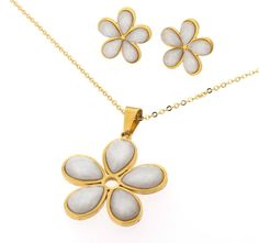 Edforce Stainless Steel Six Pedal Flower Pendant Matching Earrings Necklace Jewelry Set White N: 45 >>> Wish to know a lot more, click the photo. (This is an affiliate link). Jewelry Sets, Jewelry Necklaces, Gold Necklace, Stainless Steel Jewelry, Flower Pendant, Make And Sell, Silver Rings, Earrings, Accessories