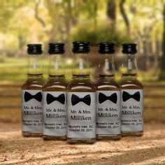 Bow Tie Mini Bottle Labels   20 Wedding Favors They Might Actually Want