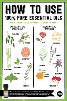 What are pure essential oils and what are they used for? These are some of our favorites: Eucalyptus, juniper, grapefruit, lemongrass, peppermint, spearmint, rosemary, rose, chamomile, jasmine, sweet orange, geranium, lavender and bergamot.