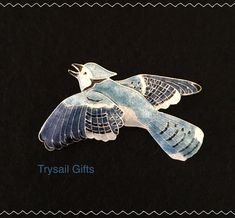 BLUE JAY Cloisonne PIN by Bamboo Jewelry STERLING Silver Bird - Gift Wrapped Box #BAMBOOJewelry