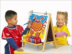 We love this pin, @Cindy! Lakeshore's 3-Way Tabletop Easel works three ways: There's a chalkboard on one side and a super write & wipe surface on the other, so kids can create with chalk, markers or paint!