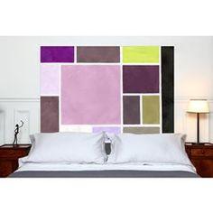 Tête de lit en tissu Poudrées Prune - à fixer sans support en bois