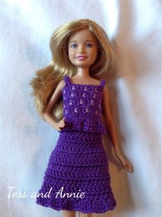 Tess and Annie: Free crochet pattern preview - Purple Polka Dot Top and Skirt