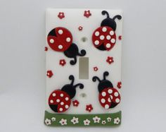 Lady Bug Light Switch Cover or Outlet Cover - Ladybug Nursery - Children's Lady Bug Room Decor - Red, White, Black - Toggle or Rocker Cover