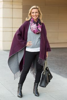 Our Purple Black Houndstooth And Solid Gray Reversible Poncho - Jacket Fashion Over Fifty, 50 Fashion, Black Abstract, Abstract Print, Burgundy Outfit, Samar, City Chic, Strand Necklace, Scarf Styles