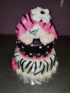 Zebra baby shower cake