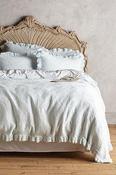 Egg blue duvet & awesome bed frame