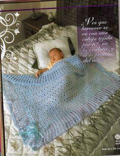 AS RECEITAS DE CROCHÊ: Manta azul de bebê em croche