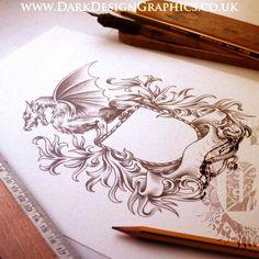 Dragon Coat of Arms Template – The Dark Design Shop Filigree Tattoo, Sternum Tattoo, Half Sleeve Tattoos Designs, Tattoo Designs, Tattoo Ideas, Cop Tattoos, Family Crest Tattoo, Dragon Art, Coat Of Arms