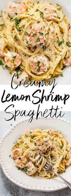 This creamy lemon shrimp spaghetti recipe is easy enough to make on a weeknight and impressive enough to serve at a dinner party. Ready in 30 minutes! #shrimppasta