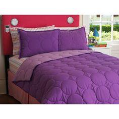 Girls' bedding - WalMart Your Zone Reversible Comforter and Sham Set, Purple Berry/Iris