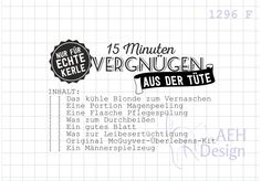 Sprüche & Slogans - Textstempel 15 MINUTEN MÄNNER-VERGNÜGEN - ein Designerstück von AEH-Design bei DaWanda