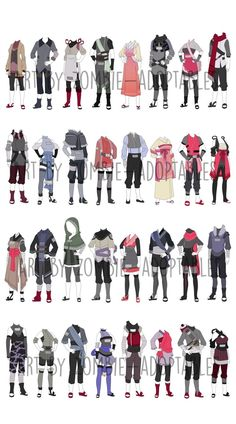Large batch by zombie-adoptables - Outfits, Hairstyles etc - Kleidung Fashion Design Drawings, Fashion Sketches, Anime Outfits, Mode Outfits, Ninja Outfit, Naruto Clothing, Drawing Anime Clothes, Clothing Sketches, Hero Costumes