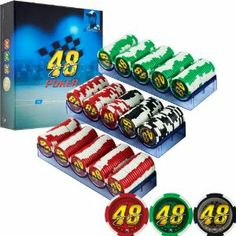 NASCAR 48 Jimmie Johnson 300 Premium Poker Chip Set by Trademark Global. $36.94. 11.5g Chip Weight. 39 mm Chip Diameter. 300 Chips:      150 Red Chips     50 Black Chips     100 Green Chips. 3 Chip Trays Hold 100 Chips Each. Bring the speed and excitement of your favorite driver to game night with the Jimmie Johnson 300 Premium Poker Chip Set. These 11.5g chips are produced from a composite resin and feature a label with Jimmie Johnson's signature and number 48 on each ...