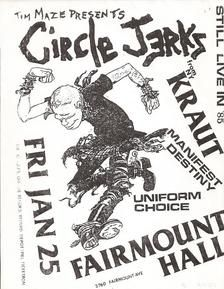 US Punk Flyers - Punk Posters - Descendents - Vandals - Circle Jerks - Gang Green -Dickies -GBH