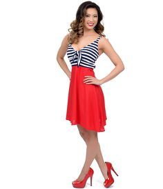 PinUp Dress  #4thofJuly #uniquevintage  Navy Blue, Red & White Striped Color Block Betty Tie Nautical Flare Dress