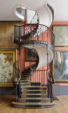 Art Nouveau Staircase in the house of painter Gustave Moreau, Paris Modern Staircase, Staircase Design, Spiral Staircases, Staircase Ideas, House Staircase, Winding Staircase, Stair Design, Grand Staircase, Architecture Details