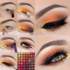 schminktipps augen, make-up in orange, gelb und braun, bunte lidschatten women beauty and make up Orange Eye Makeup, Colorful Eye Makeup, Colorful Eyeshadow, Summer Eyeshadow, Yellow Makeup, Yellow Eyeshadow, Asian Makeup, Korean Makeup, Best Makeup Tutorials