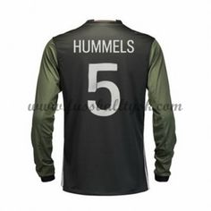 Günstige Fußballtrikots Deutschland Nationalmannschaft 2016 Hummels 5 Auswärtstrikot Langarm