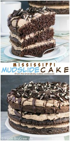 Chocolate cake layered with coffee cream, crushed cookies, and chocolate drizzles makes an impressive and delicious dessert to share with friends and family!
