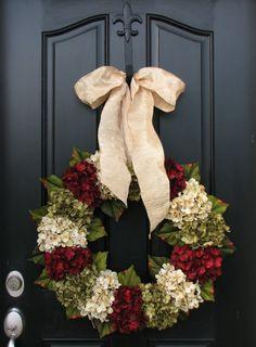 Vacaciones guirnaldas, guirnalda de Navidad, Navidad, hortensias, tradicionales frente puerta coronas de flores, decoración de casas por