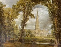 View of Salisbury Cathedral from the Bishop's Grounds - John Constable - 1823 - Romanticism - Gallery: Victoria and Albert Museum, London, UK Victoria And Albert Museum, British History, Art History, British Literature, English Literature, John Constable Paintings, John Blake, English Romantic, Salisbury Cathedral