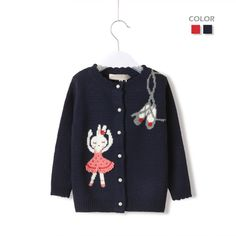 New 2013 Autumn Winter Baby Girl Knitted Cardigans Casual Children Sweater Cartoon Rabbit Free Shipping Retail $31.90