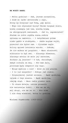 Wisława Szymborska NA WIEŻY BABEL