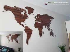 Wooden world map with country bord