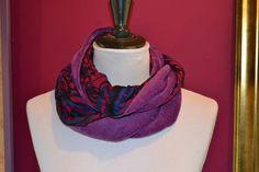 """Snood """"peluche"""" fushia doublé en jersey imprimé, réversible : Echarpe, foulard, cravate par purplely"""