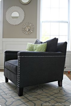 My favorite dark blue chair with nail head trim from #homegoods