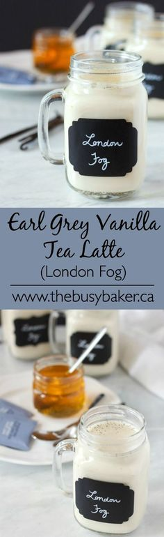Earl Grey Vanilla Tea Latte (London Fog) The best homemade London Fog recipe ever! So healthy and delicious, and all natural! The Busy Baker: Earl Grey Vanilla Tea Latte (London Fog) Non Alcoholic Drinks, Fun Drinks, Yummy Drinks, Healthy Drinks, Yummy Food, Cocktails, Beverages, Tasty, Holiday Drinks