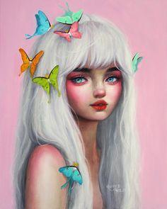 Doux - Oil painting by Happy D Artist Art And Illustration, Fantasy Kunst, Fantasy Art, Happy D Artist, Art Sketches, Art Drawings, Pretty Art, Portrait Art, Artist Art